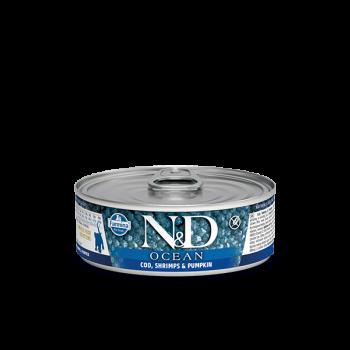 N&D Ocean karma mokra dla kociąt dorsz z krewetkami i dynią 80 g