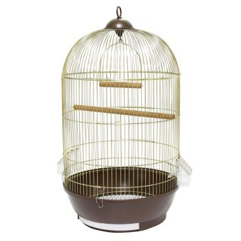 Klatka dla ptaków 40x40x70 cm złoto-brązowa