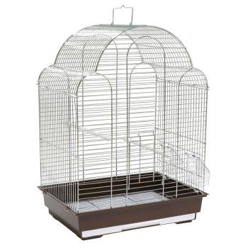 Klatka dla ptaków 42x30x57 cm srebrno-brązowa