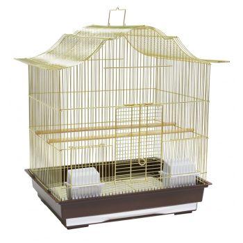 Klatka dla ptaków 47x36x55,5 cm złoto-brązowa