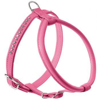 Szelki dla psa różowe z kryształkami