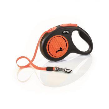 New Neon smycz automatyczna czarno-pomarańczowa taśma