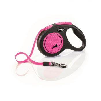 New Neon smycz automatyczna czarno-różowa taśma