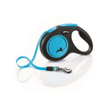 New Neon smycz automatyczna czarno-niebieska taśma