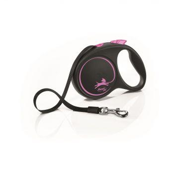 Black Design smycz automatyczna czarno-różowa taśma