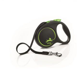 Black Design smycz automatyczna czarno-zielona taśma