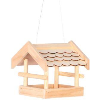 Drewniany karmnik dla ptaków do zawieszenia