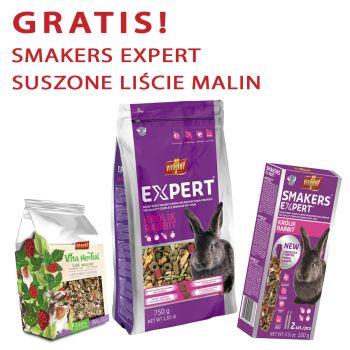 Expert karma pełnoporcjowa dla królika 750 g + gratis Smakers Expert i Vita Herbal suszone liście malin 30 g