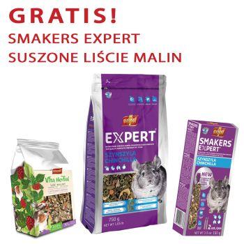 Expert karma pełnoporcjowa dla szynszyli 750 g + gratis Smakers Expert i Vita Herbal suszone liście malin 30 g