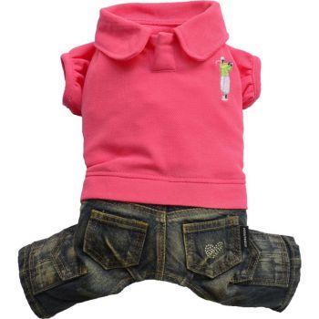 Komplet jeans polo różowy