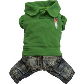 Komplet jeans polo zielony