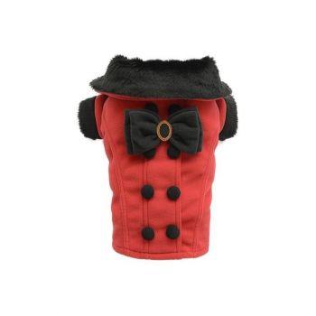 Płaszczyk z kokardą i guzikami czerwony