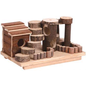 Drewniane miasteczko dla gryzoni 27x15,5x14 cm