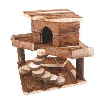 Drewniany domek dla gryzoni 19x19x27,5 cm