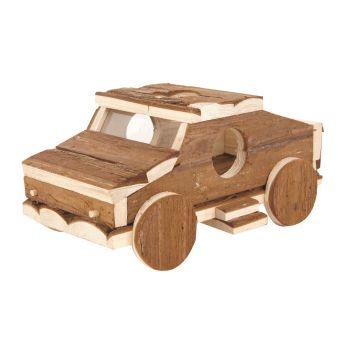 Drewniany samochód dla gryzoni 25x16x11 cm