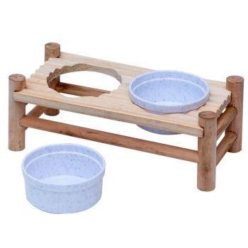 Stojak z miskami dla gryzoni 24x10x8,5 cm 2x150 ml