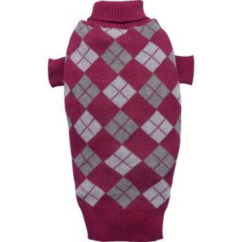 Sweter w romby ciemnoczerwony